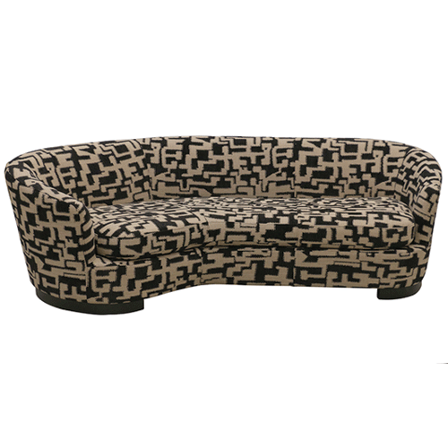 Ascot Sofa in Checker Black and Beige Fabric