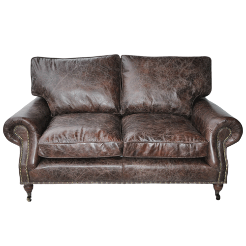 Halo Balmoral Leather 2 Seater Sofa - Biker Tan