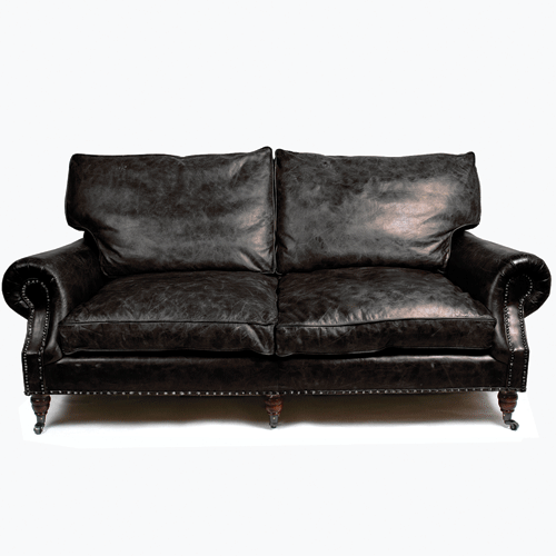 Halo Balmoral Leather 3 Seater Sofa - Riders Black