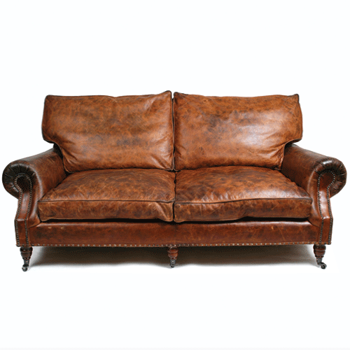 Halo Balmoral Leather 2 Seater Sofa - Vintage Cigar