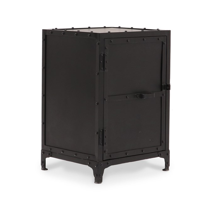Bank Iron Side Table - Solid Door
