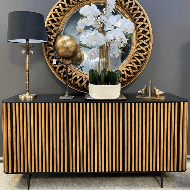 Bauhaus Black & Natural Oak Sideboard