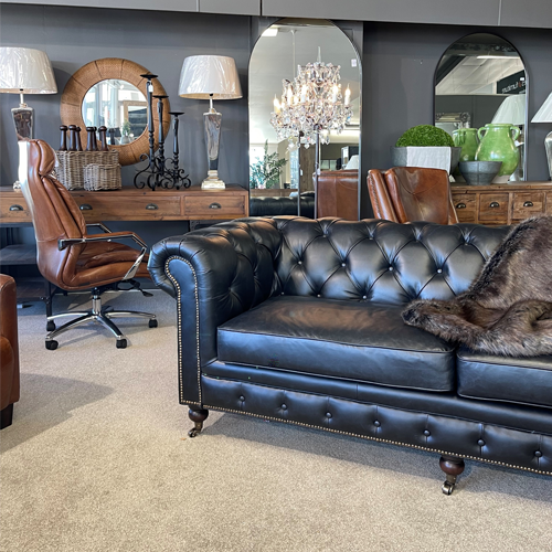 Belmont Leather Chesterfield 2 Seater Sofa - Black