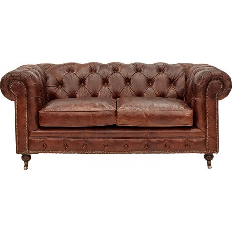 Belmont Leather Chesterfield 2 Seater Sofa - Vintage Cigar