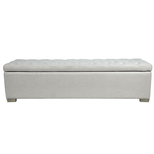 Upholstered Blanket Box / Storage Ottoman - Natural Linen