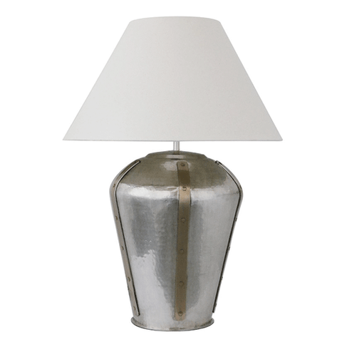 Grey Washed Metal Pyramid Table Lamp with Grey Textured Shade
