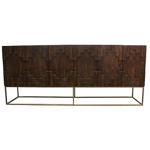 Lattice Elm & Mirror Sideboard