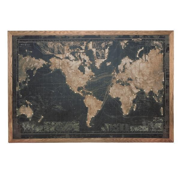 Framed World Map in Black with Lights