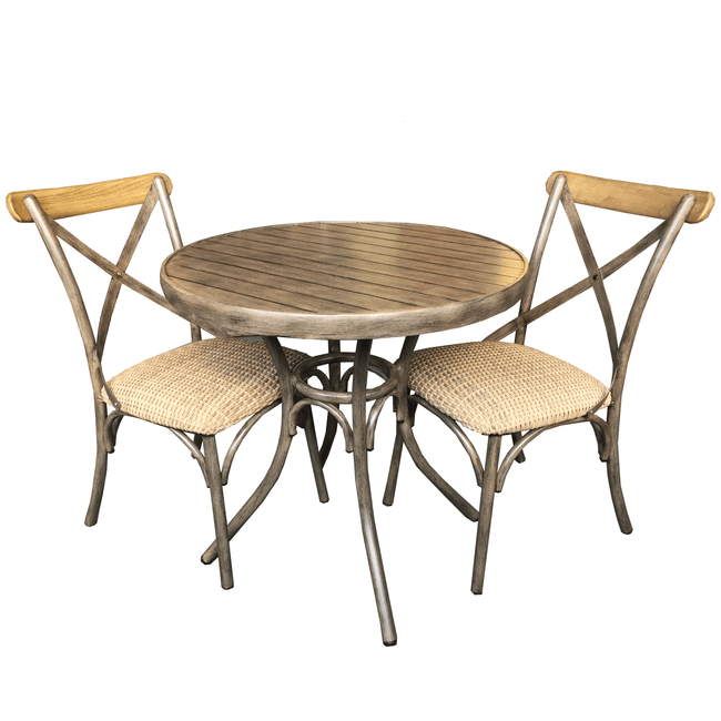 Crete 3 Piece Outdoor Setting - Round Table & 2 Cross-Back Outdoor Chairs - Natural