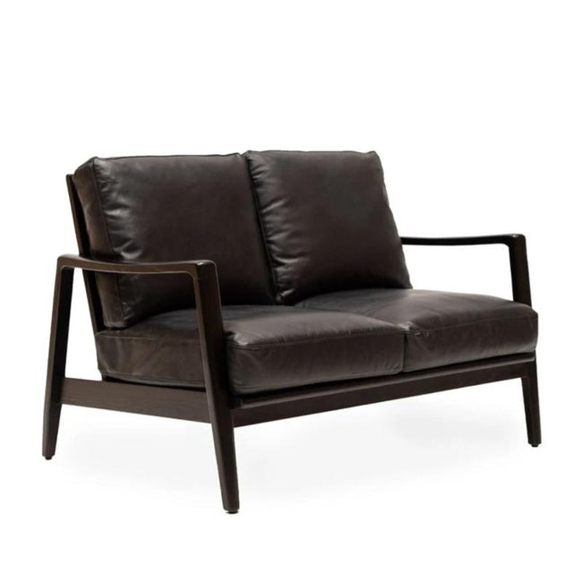 Cabana Leather 2 Seater Sofa - Black & Black Frame