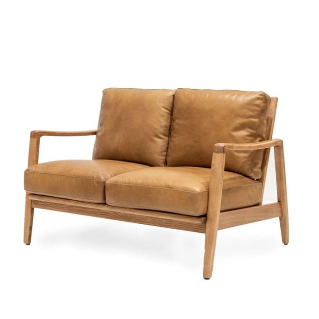 Cabana Buckle Back 2 Seater Sofa - Tan Leather