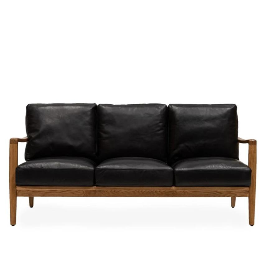 Cabana Buckle Back Leather 3 Seater Sofa - Black