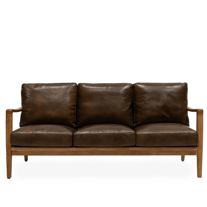 Cabana Buckle Back Leather 3 Seater Sofa - Brown