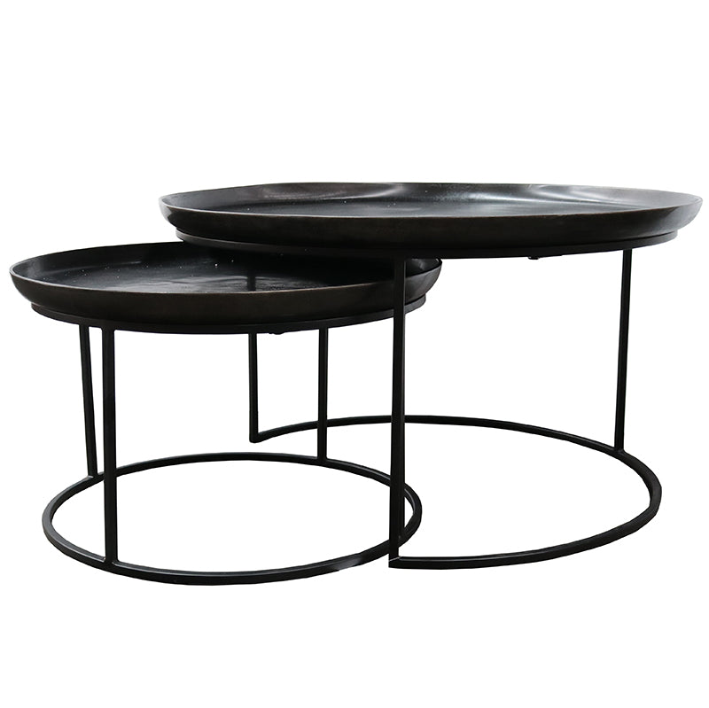 Cezar Set of 2 Nesting Coffee Tables - Antique Black Finish