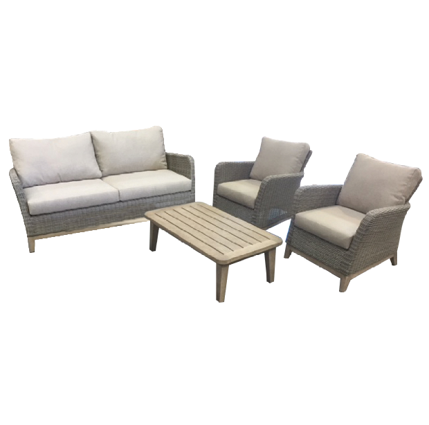 cannes outdoor sofa with two outdoor armchairs and coffee table