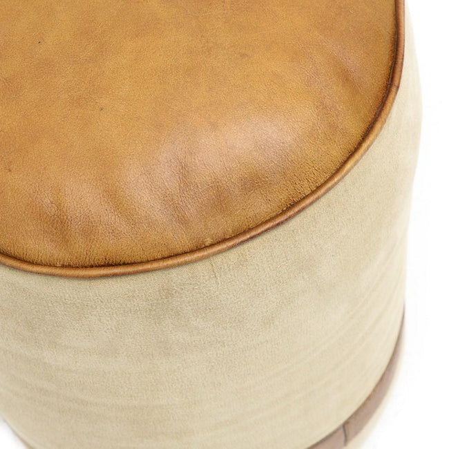 Canvas & Leather Pouffe Footstool