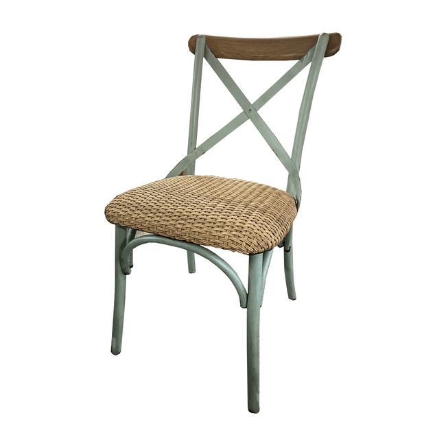 Crete Outdoor Cross-Back Chair - Sea Blue