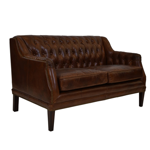 Denahm Buttoned 2 Seater Sofa in Aged Brown Leather