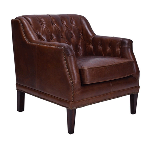 Denahm Buttoned Armchair in Aged Brown Leather