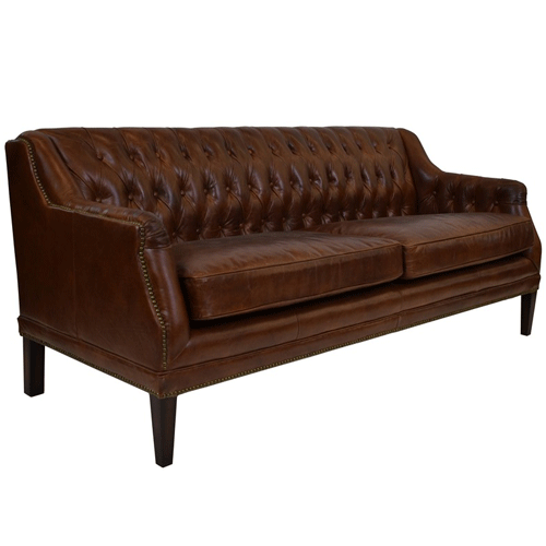 Denahm Buttoned 3 Seater Sofa in Aged Brown Leather