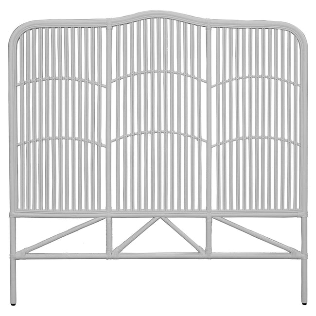 Denver White Rattan Headboard - Queen