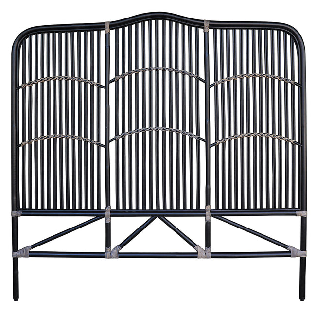 Denver Black Rattan Headboard - Queen