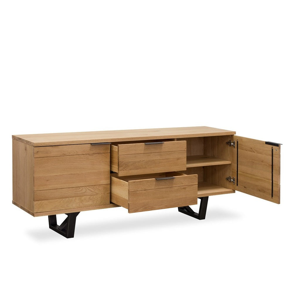 detroit sideboard oak with metal legs
