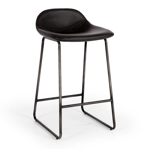 Oak & Iron Adjustable Height Bar Stool - Cowhide Top