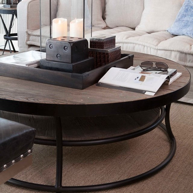 Artwood East Round Iron and Elm Coffee Table