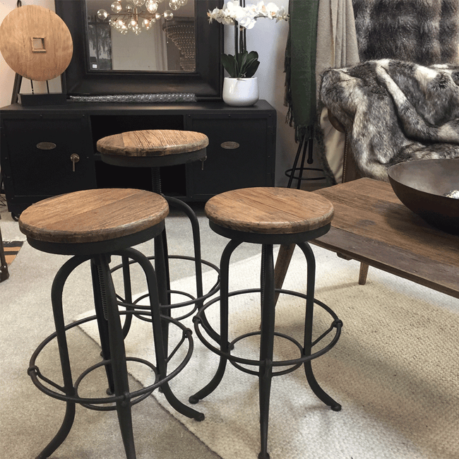 elm and iron wind up stool