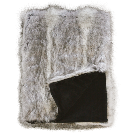 Heirloom Luxurious Faux Fur Throw -  Grey Coyote