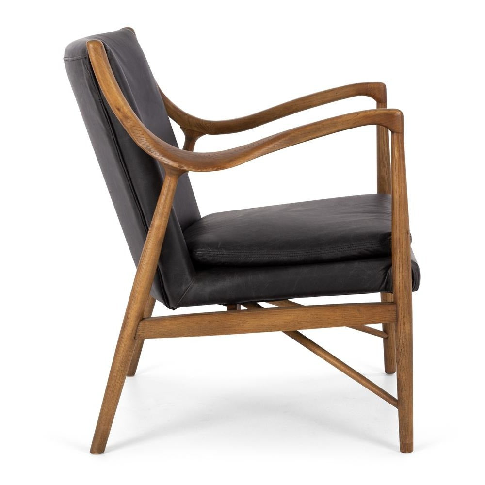 Finlay Armchair - Black Leather
