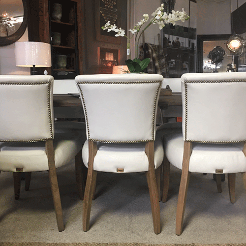 Halo Mimi Leather Dining Chair - Riders White
