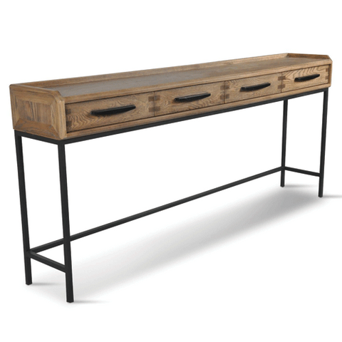 Milan Oak & Iron Curved Hall Table