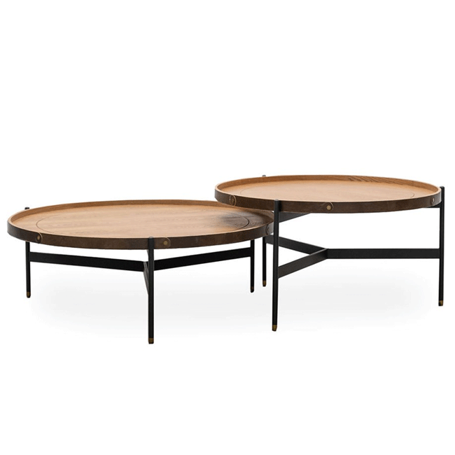 Harwood Nesting Round Coffee Tables - Set of 2 - Ash