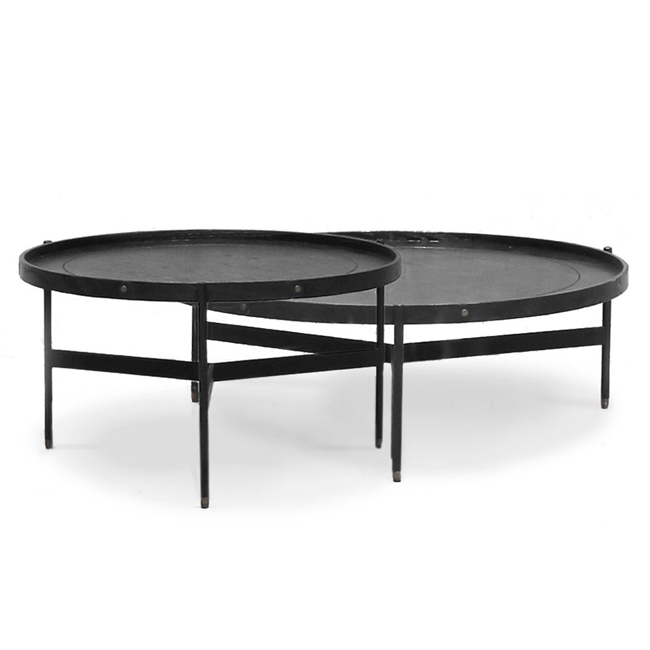 Harwood Nesting Black Round Coffee Tables - Set of 2