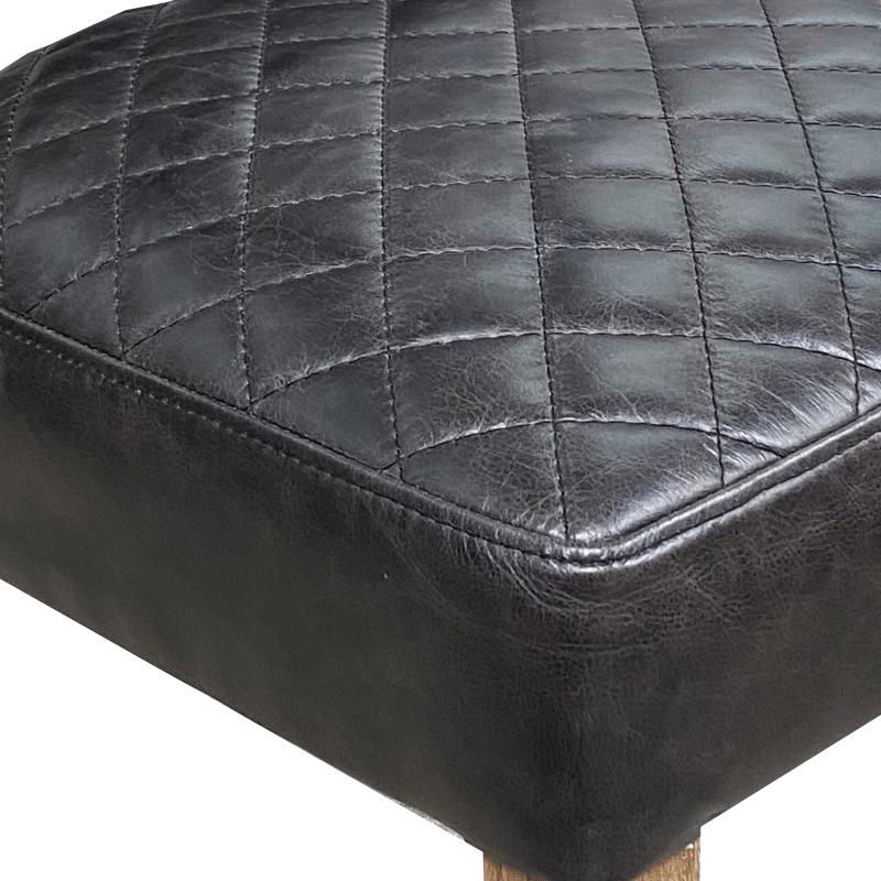 Hendrix Leather Dining Chair with Quilt Stitch - Antique Black Leather