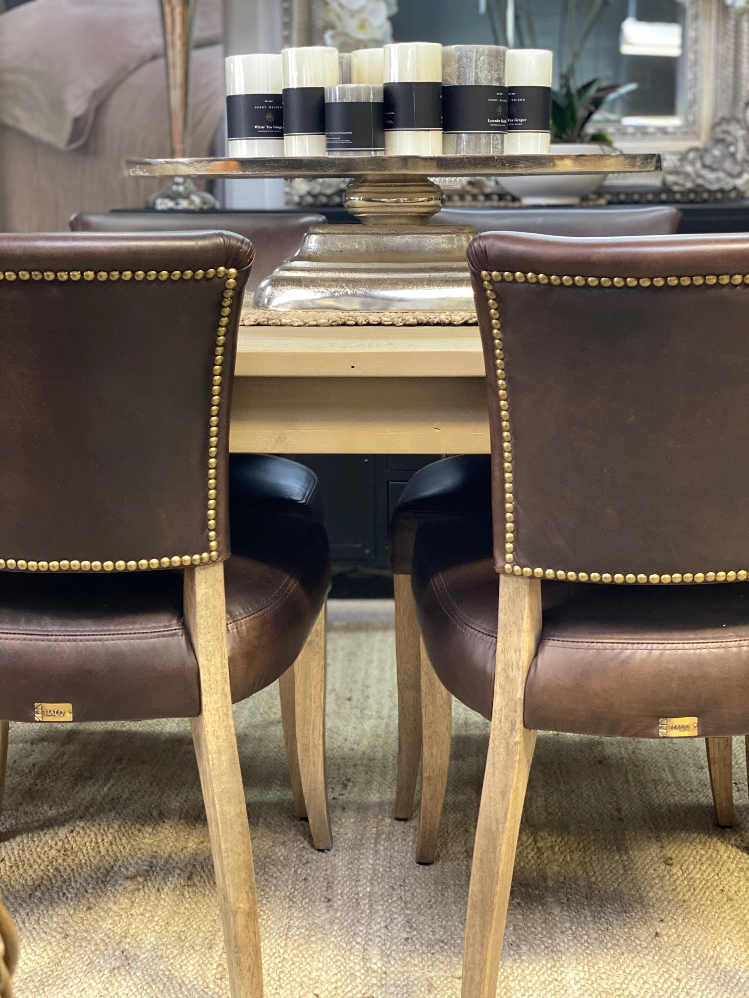 Halo mimi dining chair in antique tobacco leather