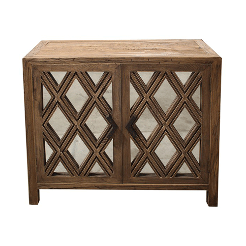 Lattice Elm & Mirror Cabinet