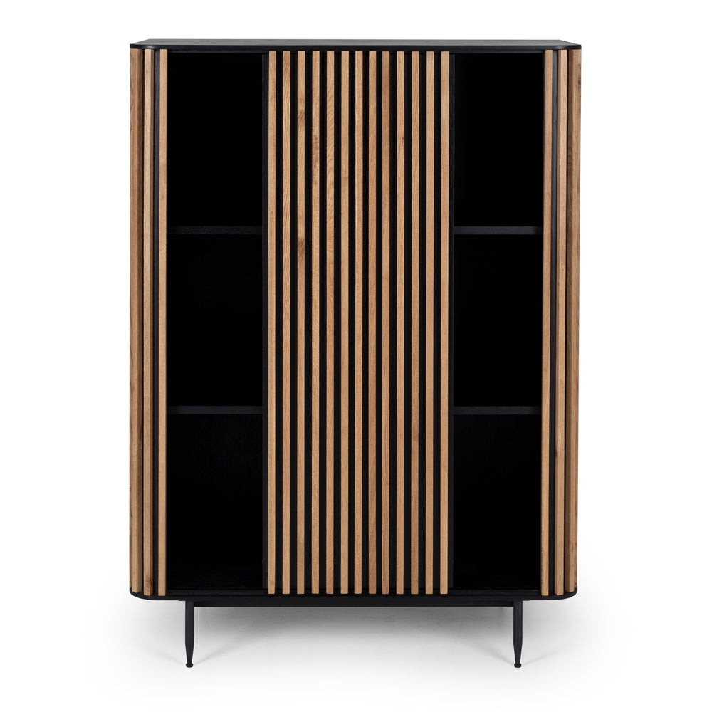 Lines Black & Natural Oak Cabinet