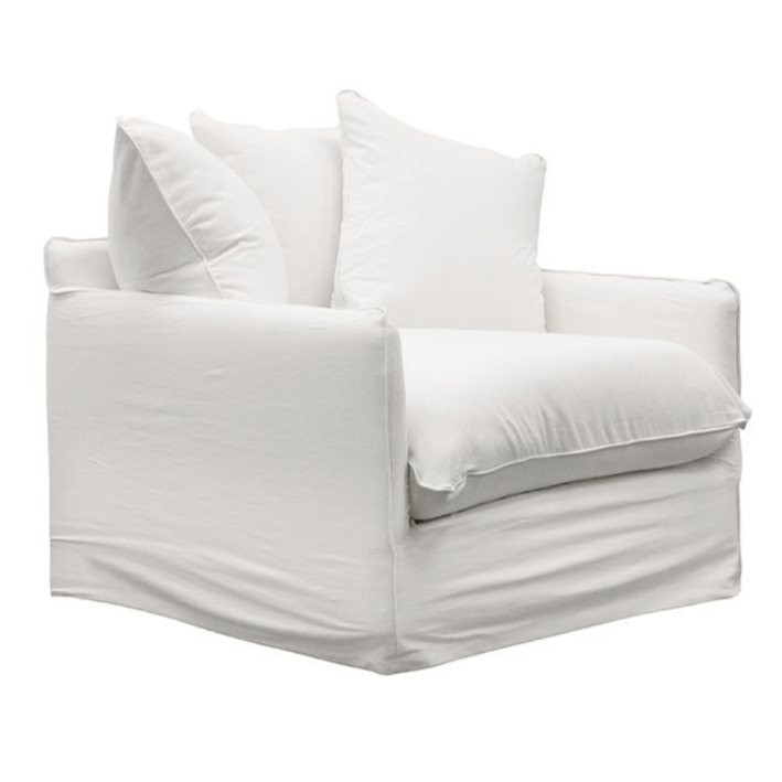 Lotus Slip Cover Armchair - White