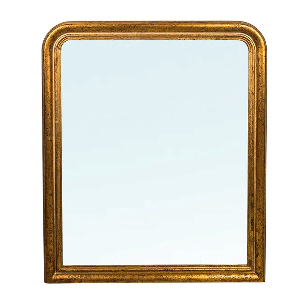 Mantel Mirror in Antique Foil Gold Finish