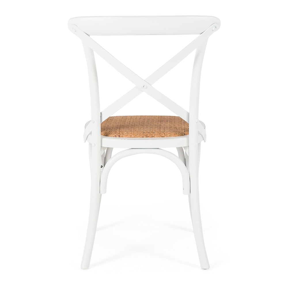 Marcel Cross Back Dining Chair - Aged White