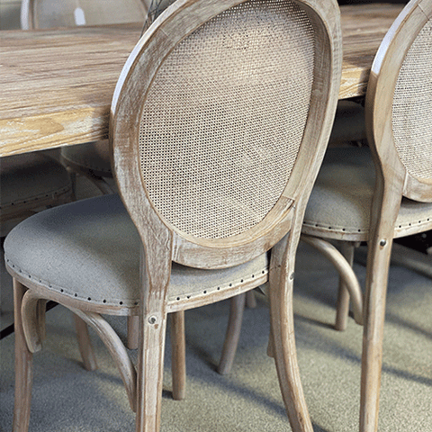 Haydee Woven Leather & Teak Dining Chair - Tan