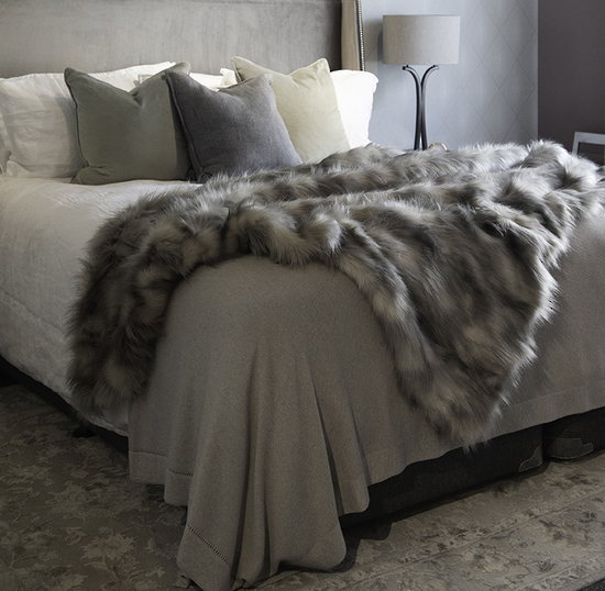 Heirloom Luxurious Faux Fur Throw -  Mountain Hare