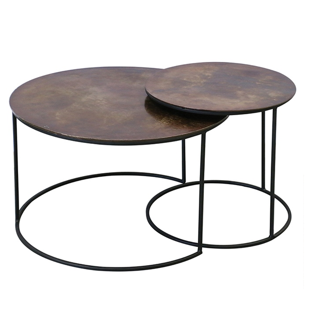 Round Copper Finish Nest of Tables