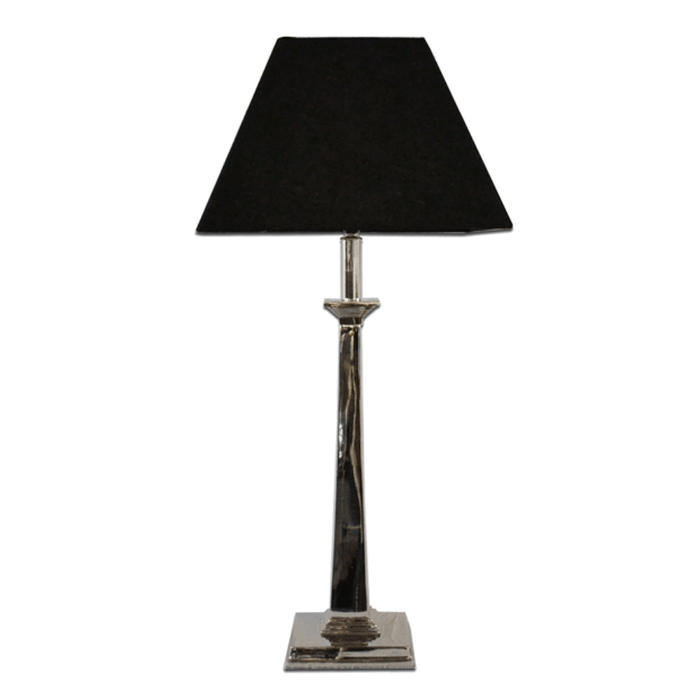 Nickel Finish Lamp With Black Shade