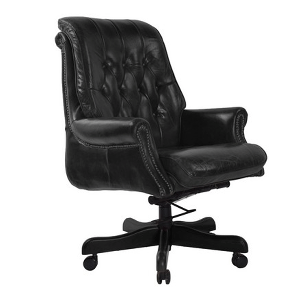Bankers Leather Adjustable Swiveling Office Chair - Vintage Black