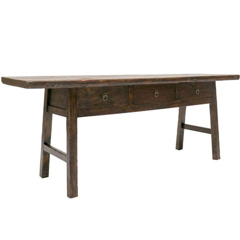 Paris Oak Console with Verdigris