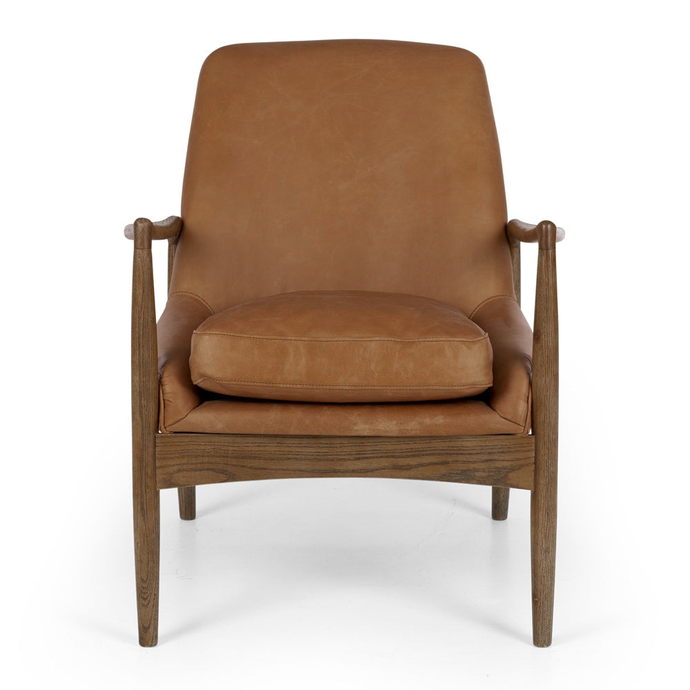 Shelby Vintage Tan Leather Armchair